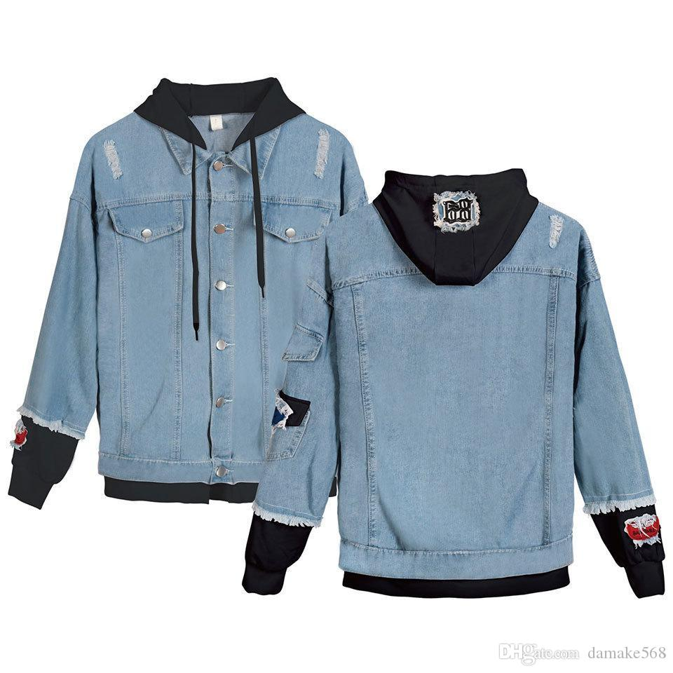 New 2019 spring new European and American fashion trend of female models wild denim jacket denim jacket stitching holes G