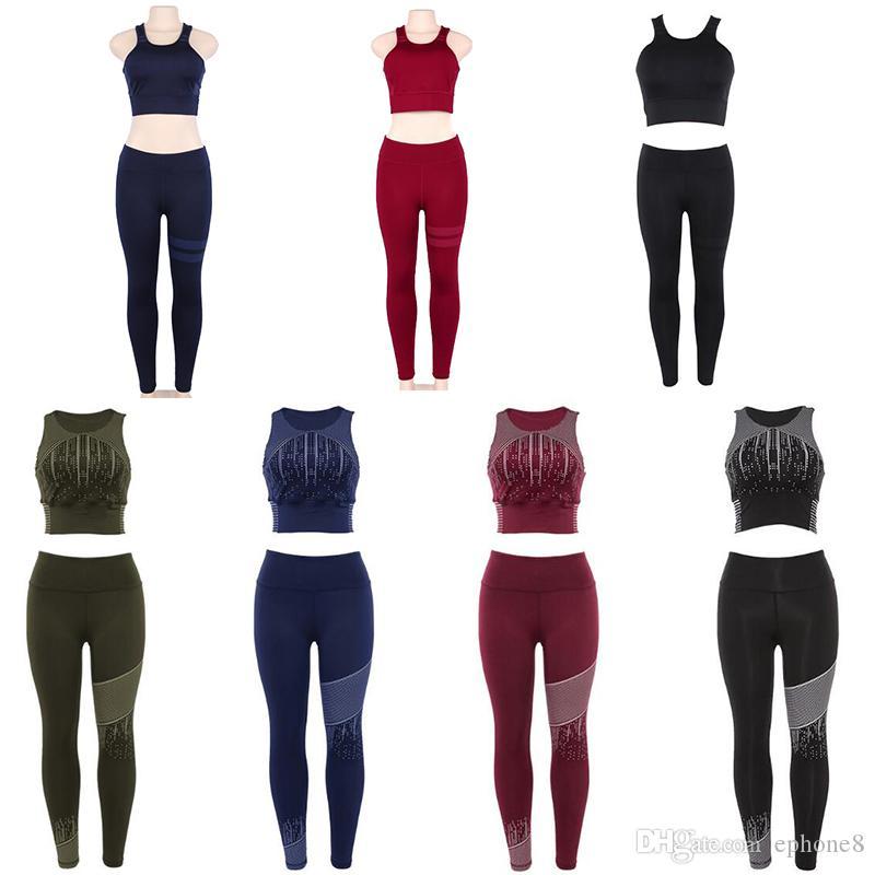 Fitness Sports Yoga Suit Femmes Vêtements deux pièces ensembles gilet  pantalon long gymnastique en cours d\u0027exécution costumes de sport Design  professionnel