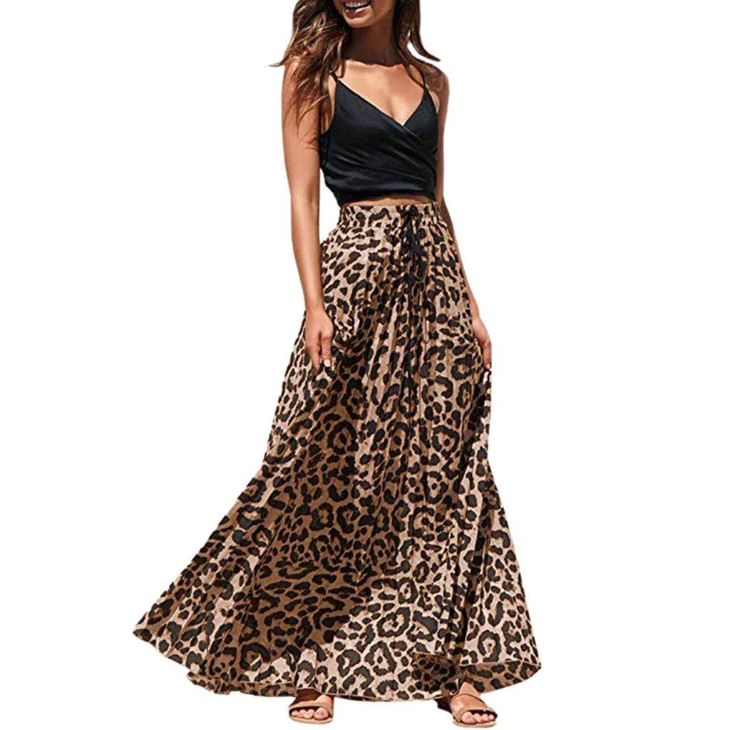 4665b2b4e Faldas largas de verano para mujer 2019 Gothic Leopardo Maxi faldas de  impresión para mujer falda de cintura alta faldas mujer moda 2019