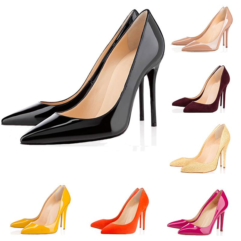 Fashion luxury designer women shoes high heels so kate 8cm 10cm 12cm Nude black white Leather Pointed Toes Pumps Dress shoes