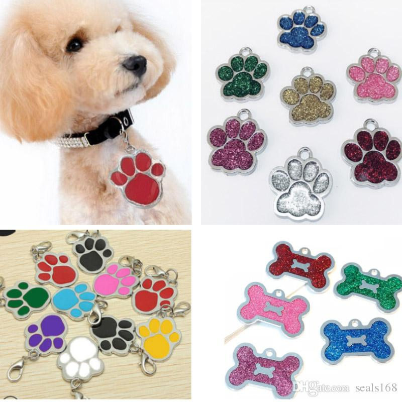 Dog Tag Engraved Cat Puppy Pet ID For Fashion Name Collar Tag Pendant Pet Accessories For Bone Glitter Footprint HH9-2178