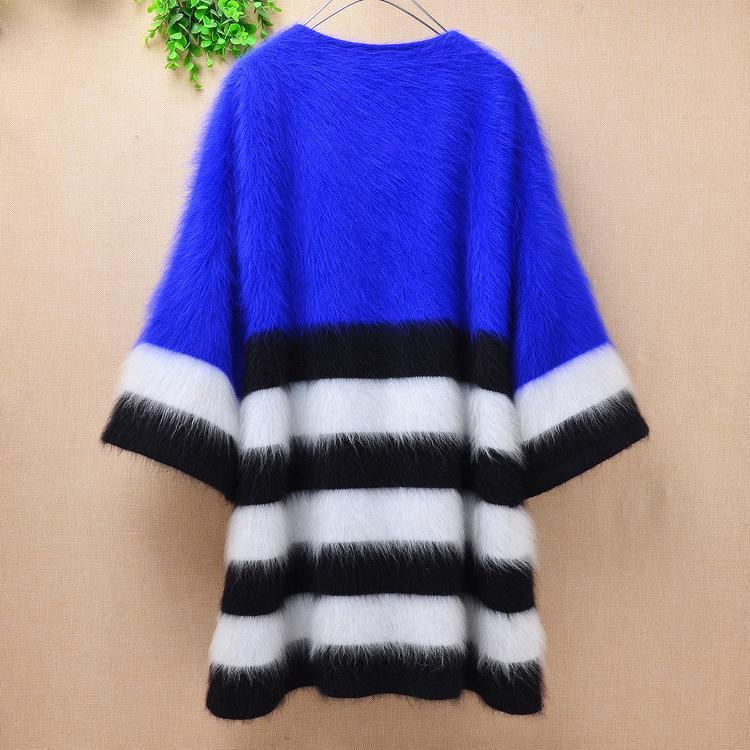 online store 5280e 2ed81 (Fehlschlag: 90cm) lang verdicken warme flauschige blaue Streifen 100% Nerz  Kaschmir lange Strickjacke Dame Frauen dünne ...