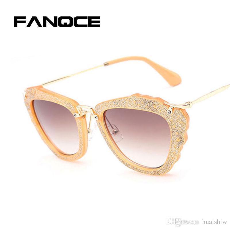 979d89150c66 FANQCE Vintage Bling Bling Glitter Luxury Brand Designer Sunglasses Women  Stylish UV400 Sun Glasses Female UV400 Eyewear HOT Sunglasses Shop Bolle ...