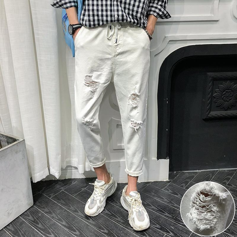 Summer New White Jeans Men Fashion Solid Color Torn Hole Casual Nine Pants Man Streetwear Trend Wild Hip Hop Loose Male Clothes