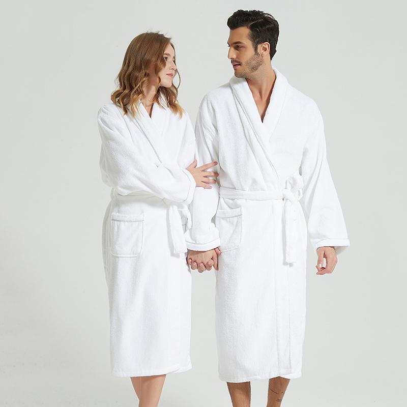 685c653c42f Acheter Peignoir D hiver Blanc Épais Robe Longue Serviette Polaire Chaud  Femme Manches Longues Maison Peignoir Robes De Chambre Vêtements De Nuit  Kimono ...