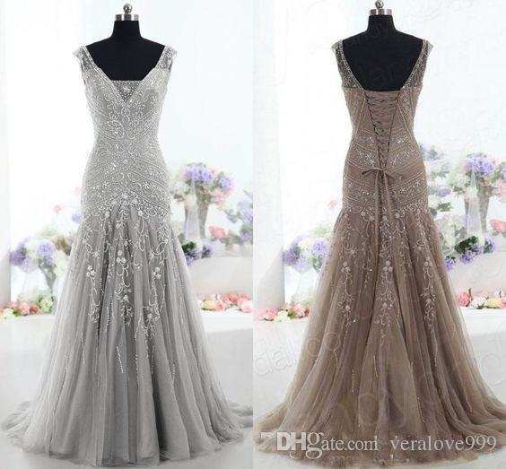 2018 High Quality Brown Evening Dress Drop Waist V Neck Mermaid Court Train Beading Sequins prom dresses Tulle Mother of the Bride Dress