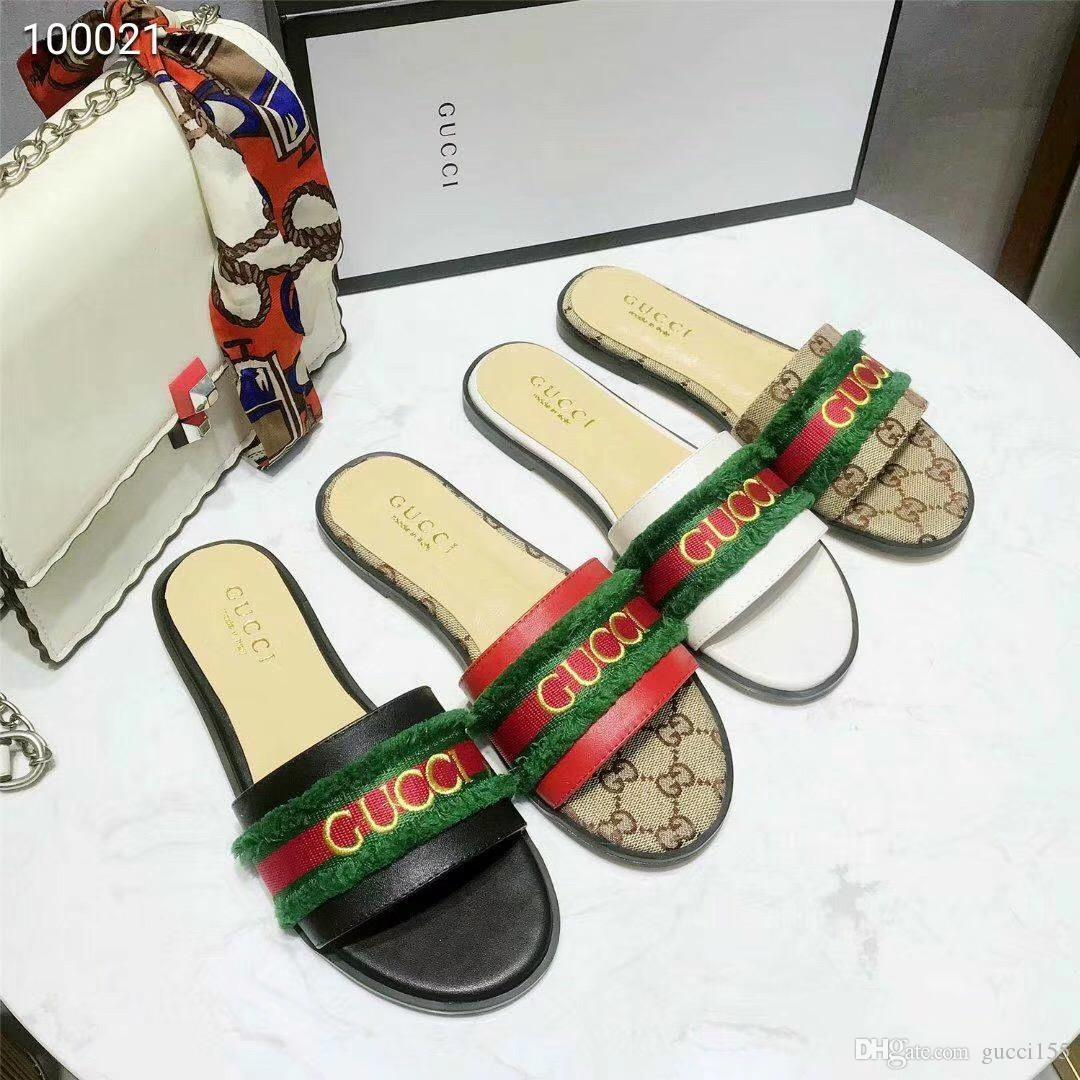2019 famous women sandals Super brand designer sandals fashion casual top quality leather work free delivery with box n63