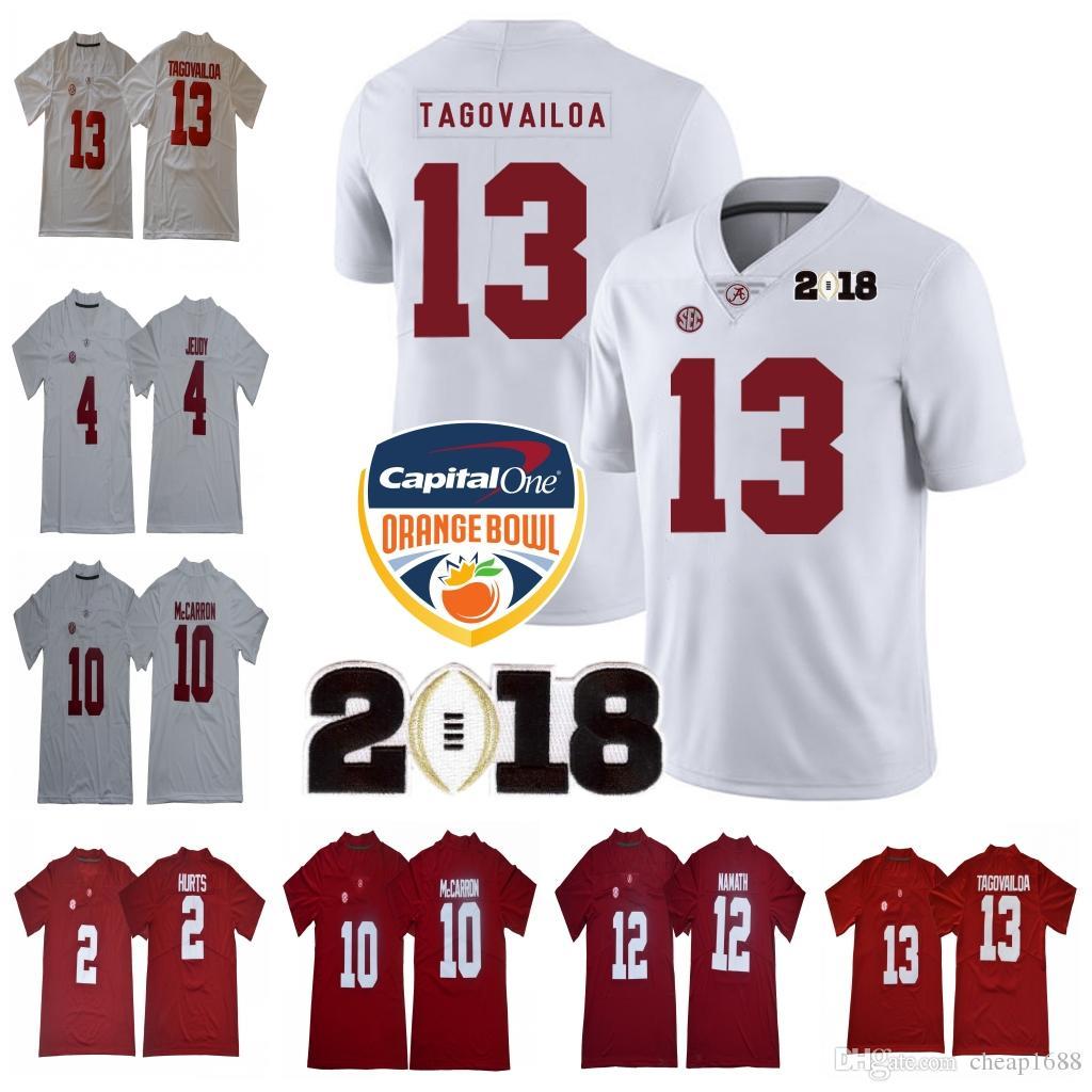 c59349bc1 2019 Alabama Crimson Tide 13 Tua Tagovailoa 2018 NCAA Orange Bowl 2 Jalen  Hurts 4 Jerry Jeudy 10 AJ McCarron 12 Joe Namath Championship Jersey From  ...