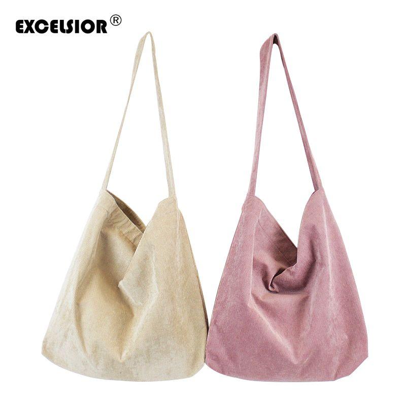 ccfa942fc921 Designer EXCELSIOR New Canvas Women'S Handbag Vintage Shoulder Bag High  Quality Lady'S Fashionable Corduroy Beach Bag Sac A Main G1691 Pink Handbags  Branded ...