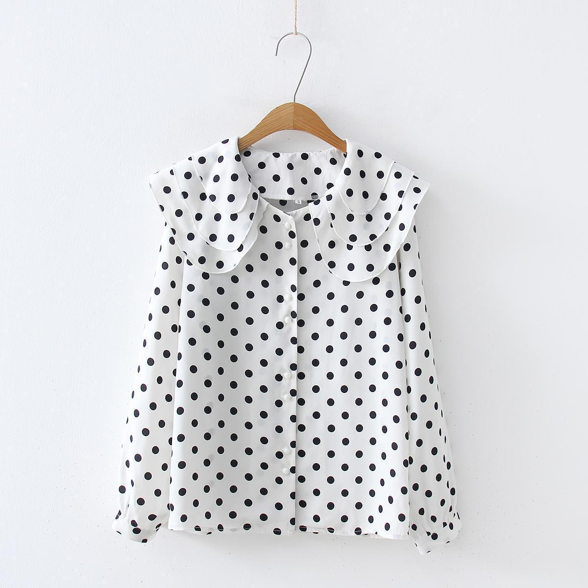4ee34ab80 2019 2019 Spring New Women White And Black Polka Dot Long Sleeve Fashion  Ruffles Chiffon Tops Shirts Casual Blouse Shirts From Godblessus16388802
