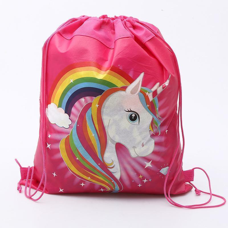 34*27 cm Unicorn Drawstring Backpack Girls Princess Kids Theme Party Backpack Candy Bags School backpack Non-woven Cartoon Bundle Pocket