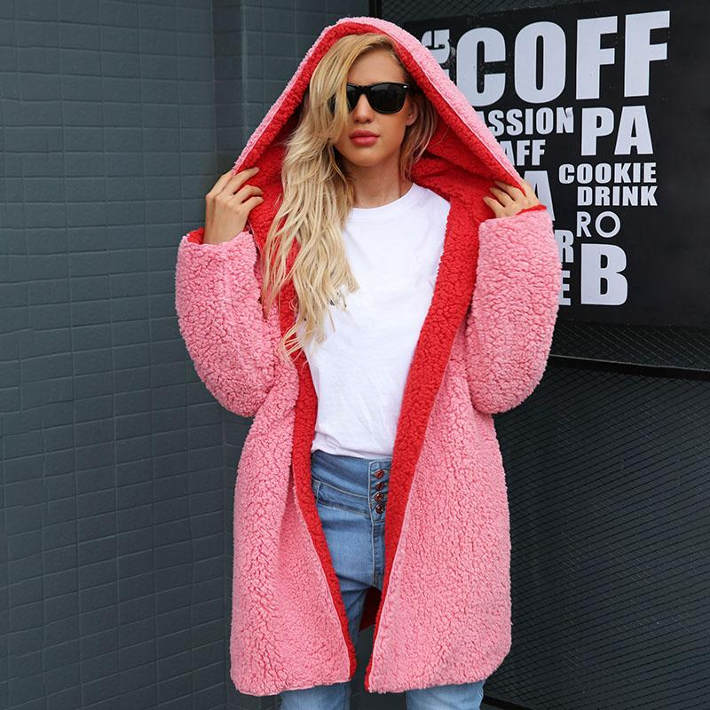 Winter Warm Hairly Cardigan Jackets Faux Lambswool Thick Women Hooded Hoodies Coat Plus Size Autumn Outerwear Overcoat