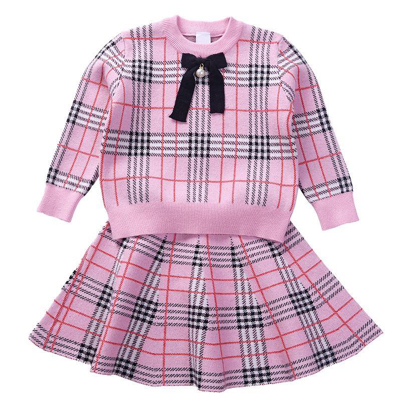 2019 Spring Autumn Preppy Style Girls Sweater Dress Plaid Kids Baby