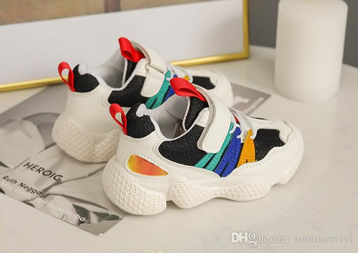 Boys sneakers fashion 2019 spring new kids contrast color casual shoes boys non-slip breathable running shoes girls sports shoes F3580