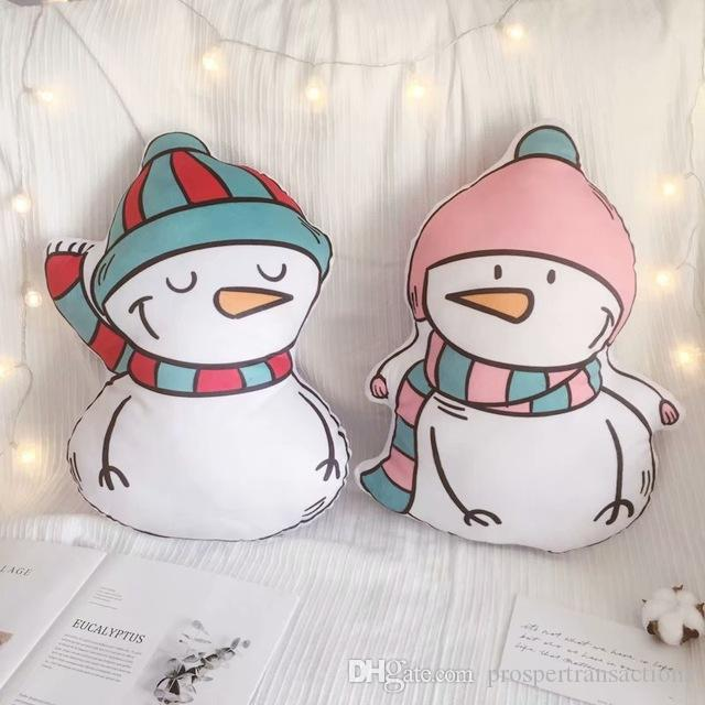 Cartoon Christmas Snowman Double-sided Print plush Pillow Sofa Home Cushion Pillow Birthday Gift