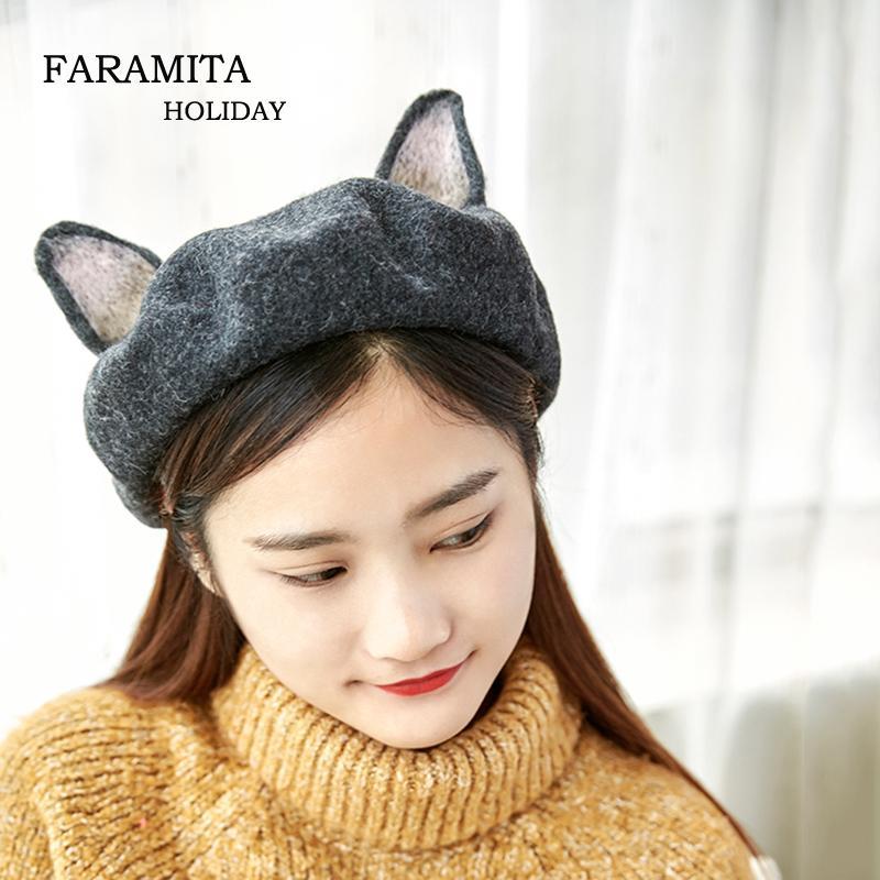 3c0822c2f7479 2019 Faramita Holiday Women Casual Beret French Artist Warm Wool Winter  Kids Beanie Hat Cap Girls Gray Cat Ears Cute Berets Hand Made From Hoganr