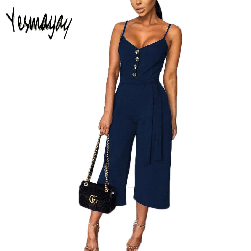 2019 Summer Women Solid Skinny Sexy Jumpsuit Casual Bandage Streewear Spaghetti Strap V-neck Playsuit Overalls for Women Party