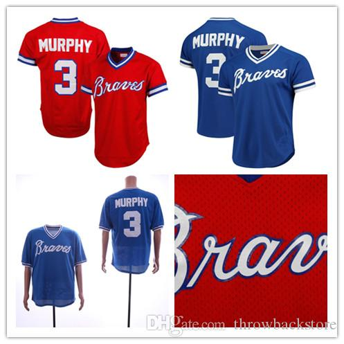 meet 341eb 87376 Men s Braves Dale Murphy Jersey Mitchell & Ness Red Royal 1980 Authentic  Cooperstown Collection Mesh Batting Practice Baseball Jerseys