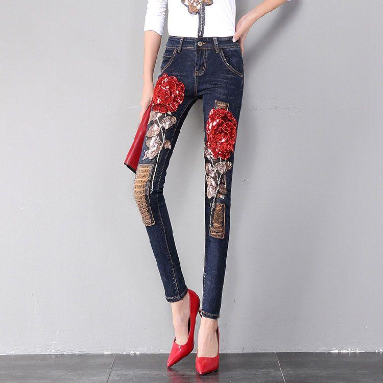 18f8b1534b72 2019 Fashion Women Denim Pants 3D Red Rose Sequins Trousers Ripped ...