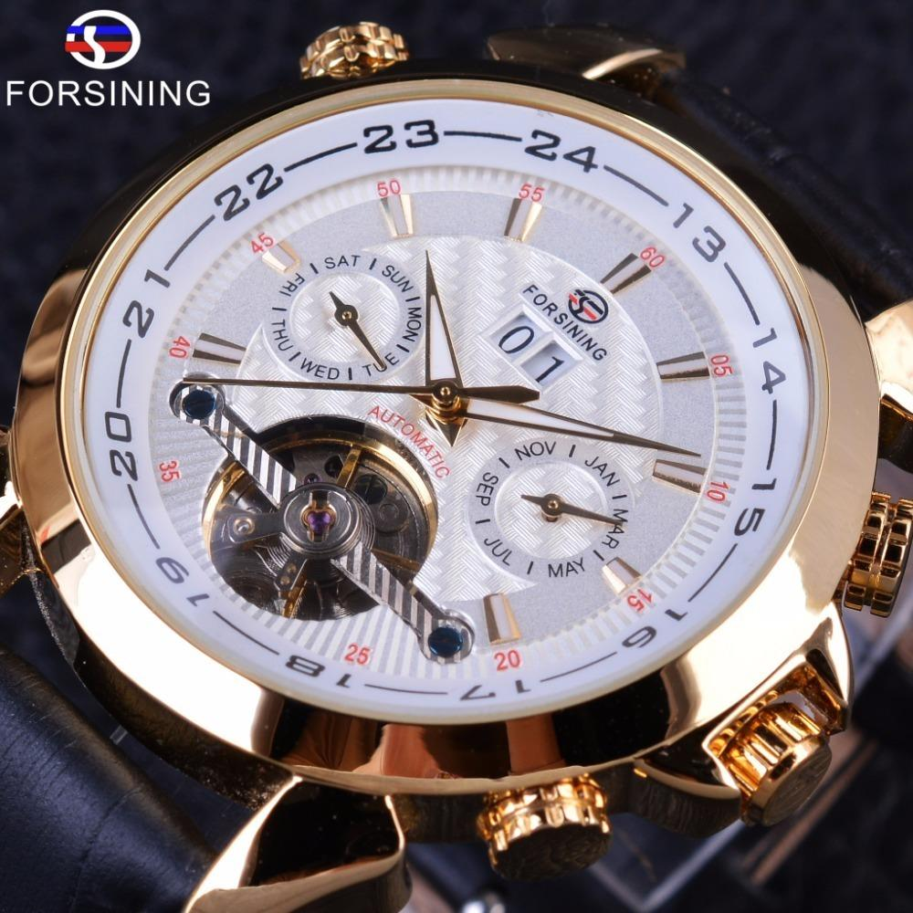Forsining Weaving Tourbillion Design Genuine Leather Calendar Display Mens Mechanical Watches Top Brand Luxury Automatic Clock Online Shop Watches Mechanical Watches