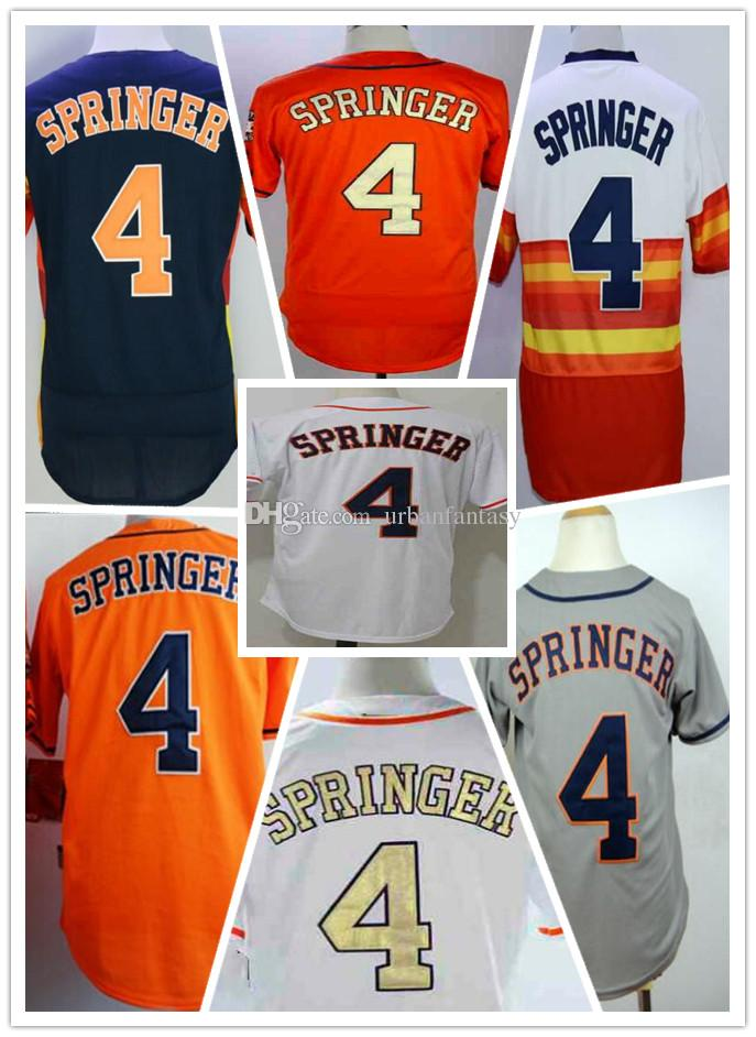 detailed look 16d17 2d088 Top Selling Mens Women Youth Astros George Springer Houston 4 Baseball  stiched Jerseys Six Colors Name and Number Embroidery Uniforms