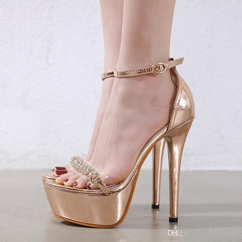 with box shinny champagne gold rhinestone shoes 15cm ultra high heels platform pumps women designer shoes size 35 to 40 tradingbear