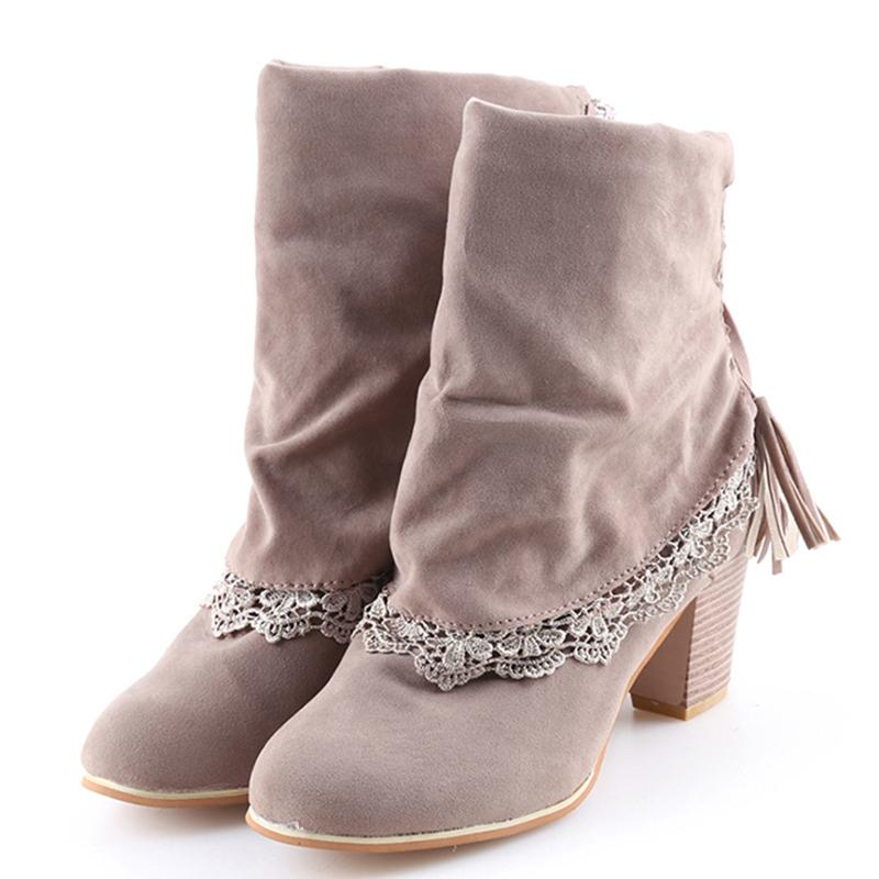 4bd47045506 Winter Boots Women Short Boots Sued Leather Round Toe Ankle Sexy ...