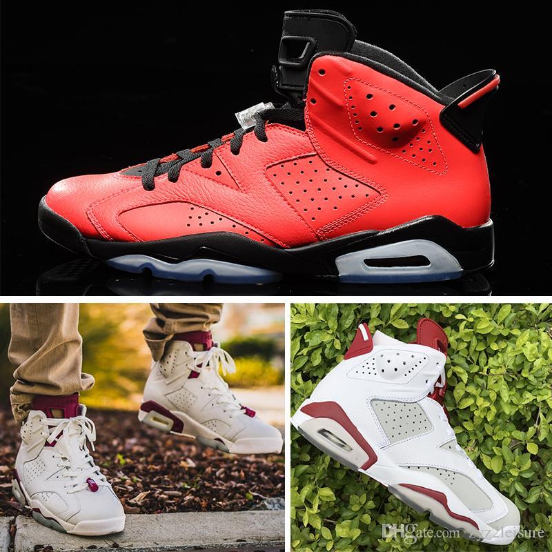 new product 3977a 7ec87 Großhandel Nike Air Jordan 6 Retro Basketball Shoes 2018 Freizeitschuhe 6  6s Herrenschuh UNC 3M Schwarze Katze Infrarot 23 Carmine Maroon Oreo  Designer ...