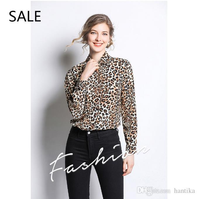 ab7a051870d65 Compre Camiseta Para Mujer Diseño Clásico Con Estampado De Leopardo Manga  Larga Blusa Para Mujer Estilo Casual Oficina Mujer Camisa Diaria Resorte  Tallas ...