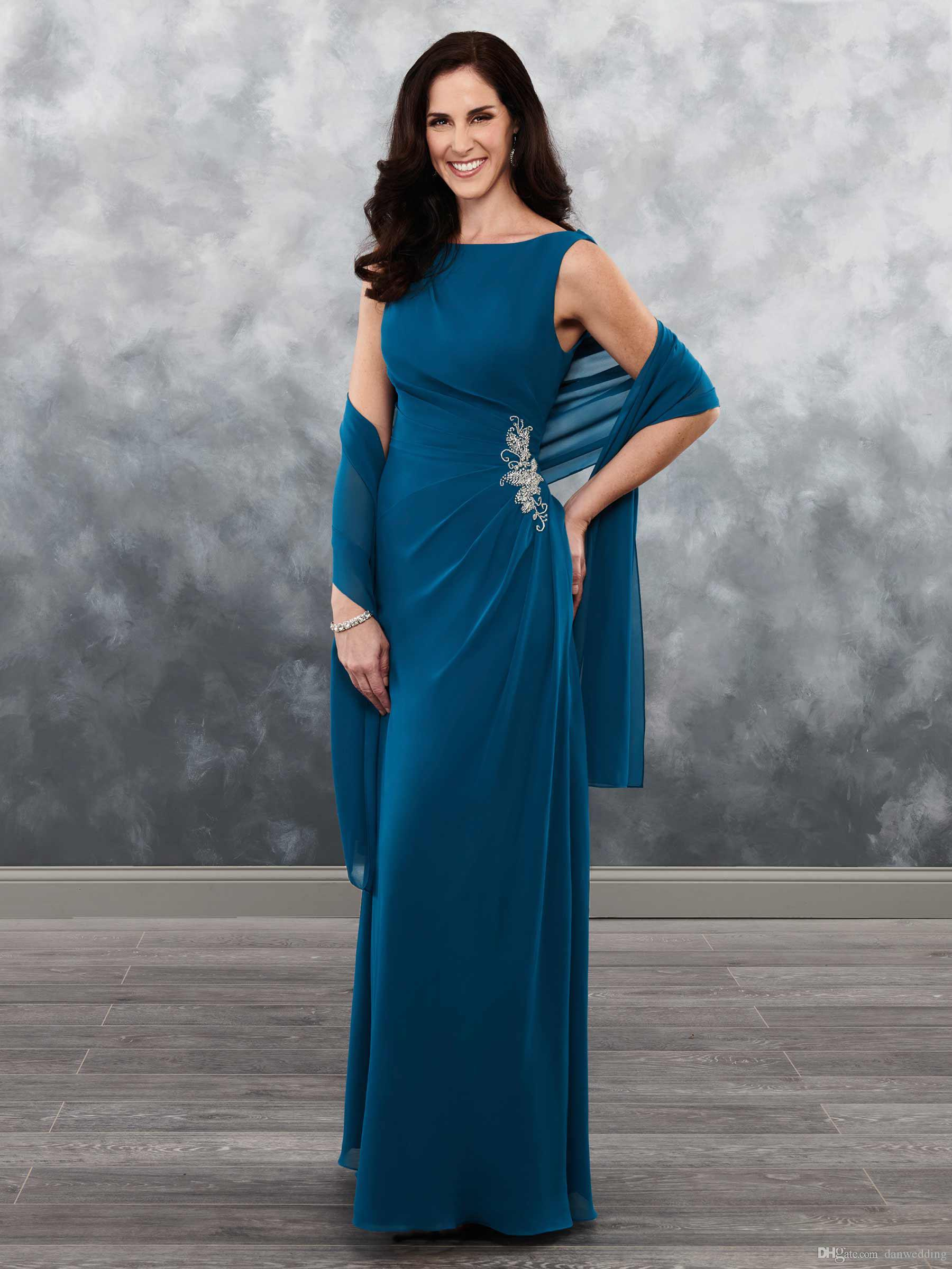 Free Shawl Elegant Teal Blue Chiffon Beads Mother's Dresses Mother's Special Occasion Weddings Party Dresses Custom Size 2-18 KF101402