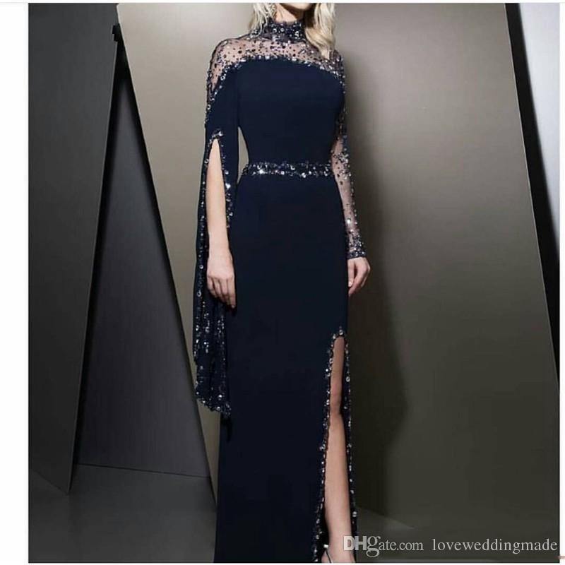 Sheer Neck LHigh Neck Beaded Collar Mermaid Evening Dresses 2019 Sexy Side Split Black Prom Pagenat Party Gown Crystal Beaded