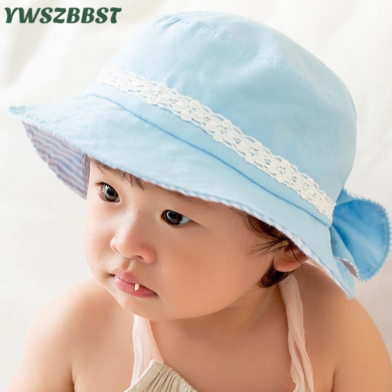 5be62e932bf 2019 2019 New Spring Flat Top Bow Baby Basin Cap Summer Baby Sun Hat Infant  Hat Princess Girls Fisherman Bonnet From Vanilla14