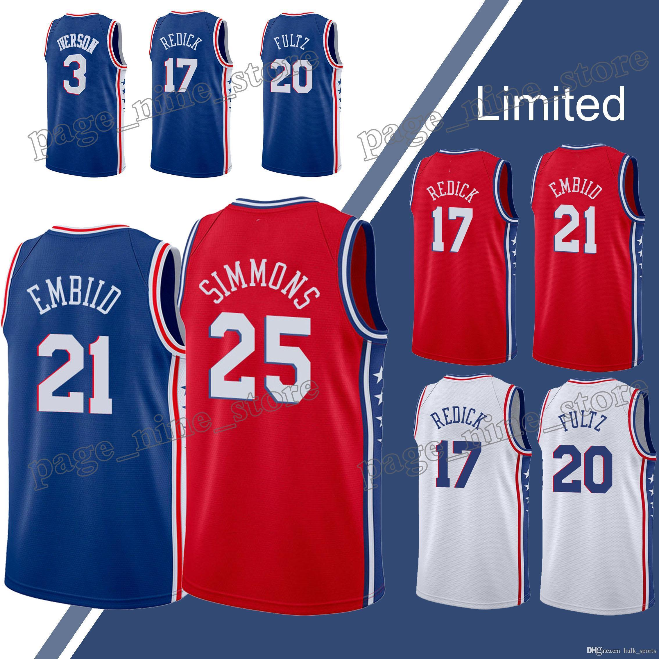 newest f3ae2 14fa9 21 Embiid jersey Philadelphia jerseys 76ers 25 Simmons jersey 17 Redick 3  Iverson 20 Fultz hot sale