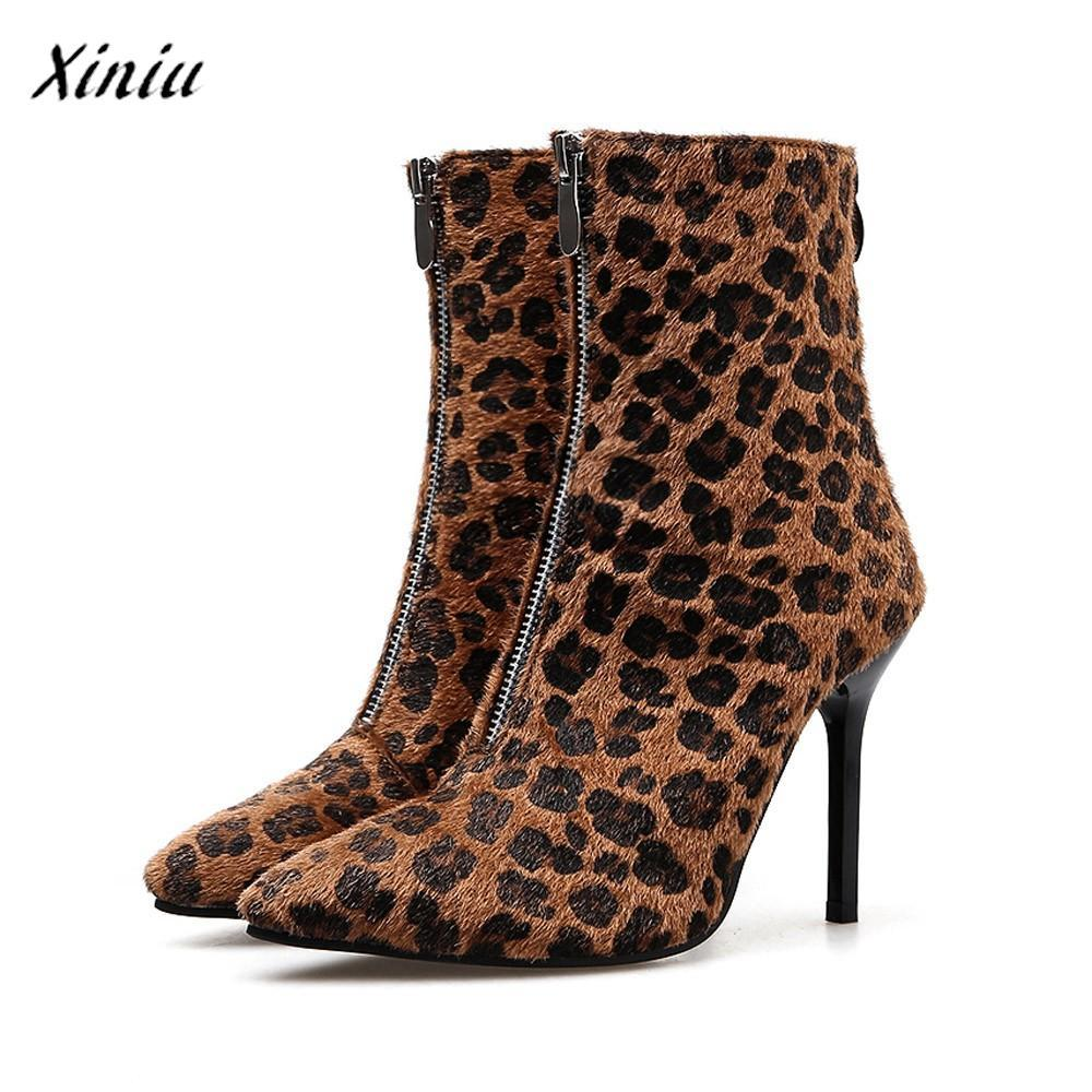 87eec85974 Women Leopard High Heel Ankle Boots Sexy Pumps Toe Pointed Boots High  Quality Vintage Designer Shoes Heel Zapatillas Mujer