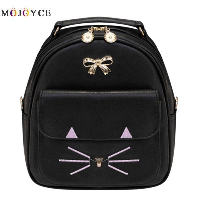 d807c29f2a84 Cute Cat Face Bowknot Women Pu Leather Backpacks Casual Mini Shoulder  Travel Bag Teenager School Backpack Mochila Feminina