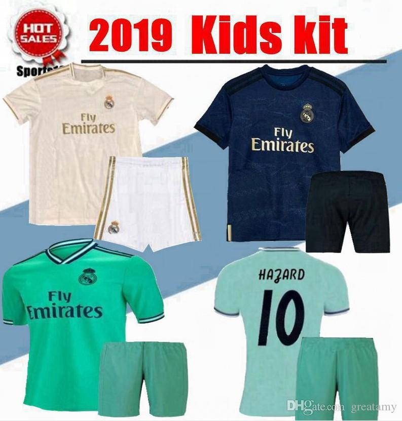 reputable site 247b0 9b961 Kids Kit 2019 2020 Real Madrid home third Soccer Jersey 19/20 youth boy  Soccer shirt Modric KROOS Hazard ISCO ASENSIO BALE Football uniform