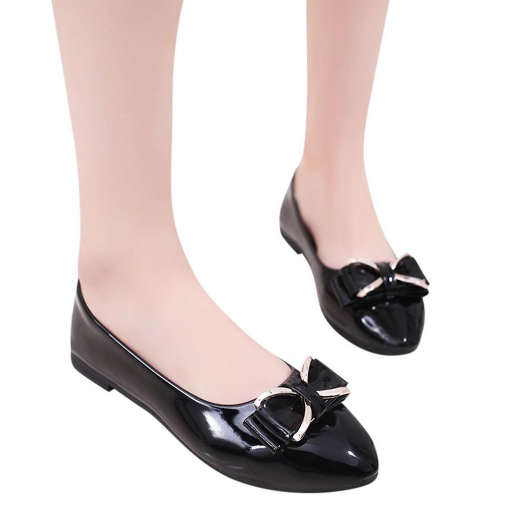 8c83198370 Women Flat Shoes Nice Pop Fashion Metal Bowknot Shallow Single Flat ...