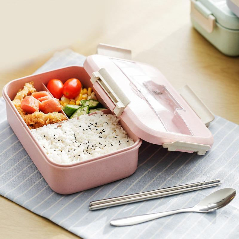 Japanese Style Plastic Wheat Straw Bento Lunchbox Portable Kids School Student Lunch Box Microwave Picnic Camping Food Container C18112301