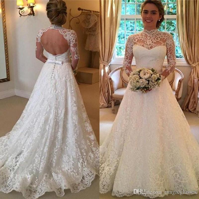 Discount Vintage High Neck Lace Wedding Dresses Long Sleeve Open