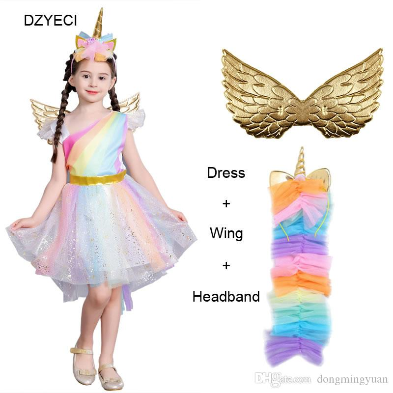 f4ff89bf2e Summer Big Girl Unicorn Rainbow Lace Dress Fancy Elegant Bridesmaid Kid  Wing Headband Party Princess Frock Children Ceremony Up Dresses