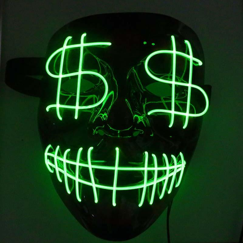 Halloween Christmas Led Luminous Mask Dollar Grimace Bloody EL Wire Party Mask Club Bar DJ Glowing Full Face Masks Led Mask