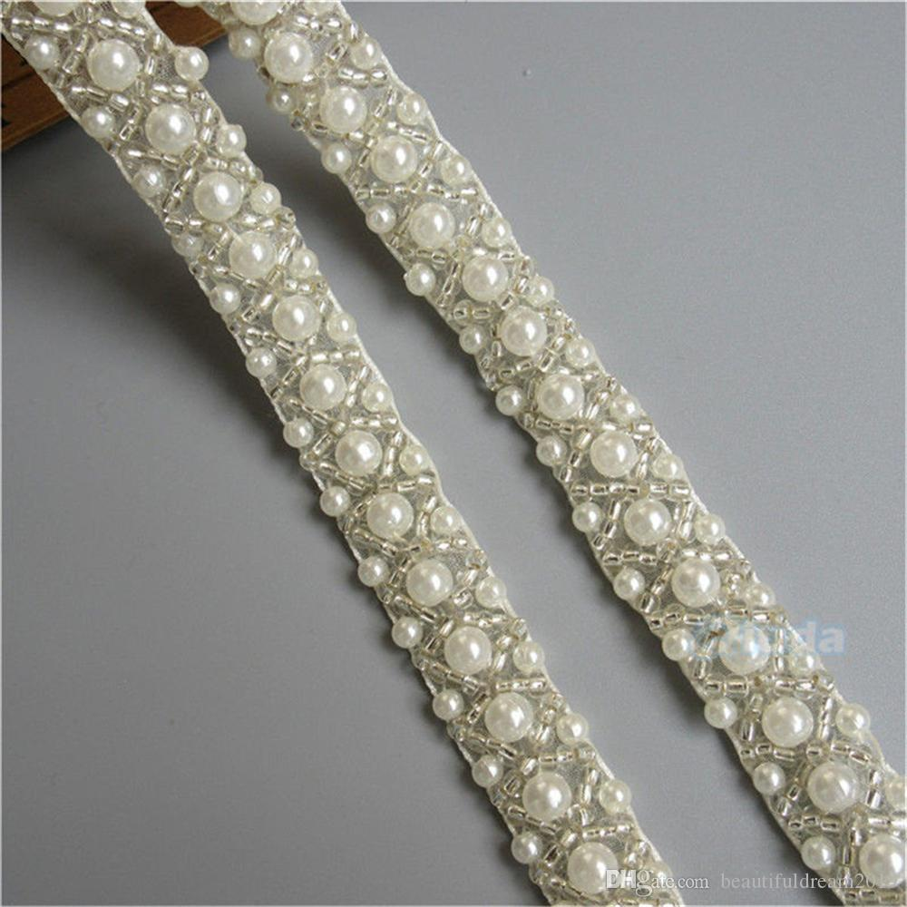 1 Yard Pearl Beads Ivory Lace Edge Trim Ribbon Wedding Bridal Dress Sash Belts Trimmings Sewing Supplies Craft Clothes Bag Shoes DIY