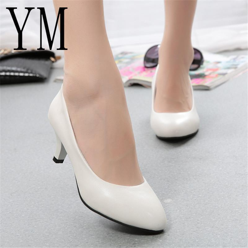 c8861a6ad Designer Dress Shoes 2019 New White Women OL High Heels Pumps Female Winter  Thick With Autumn Pointed Single Female Female Sandals Shoe Boat Shoes From  ...