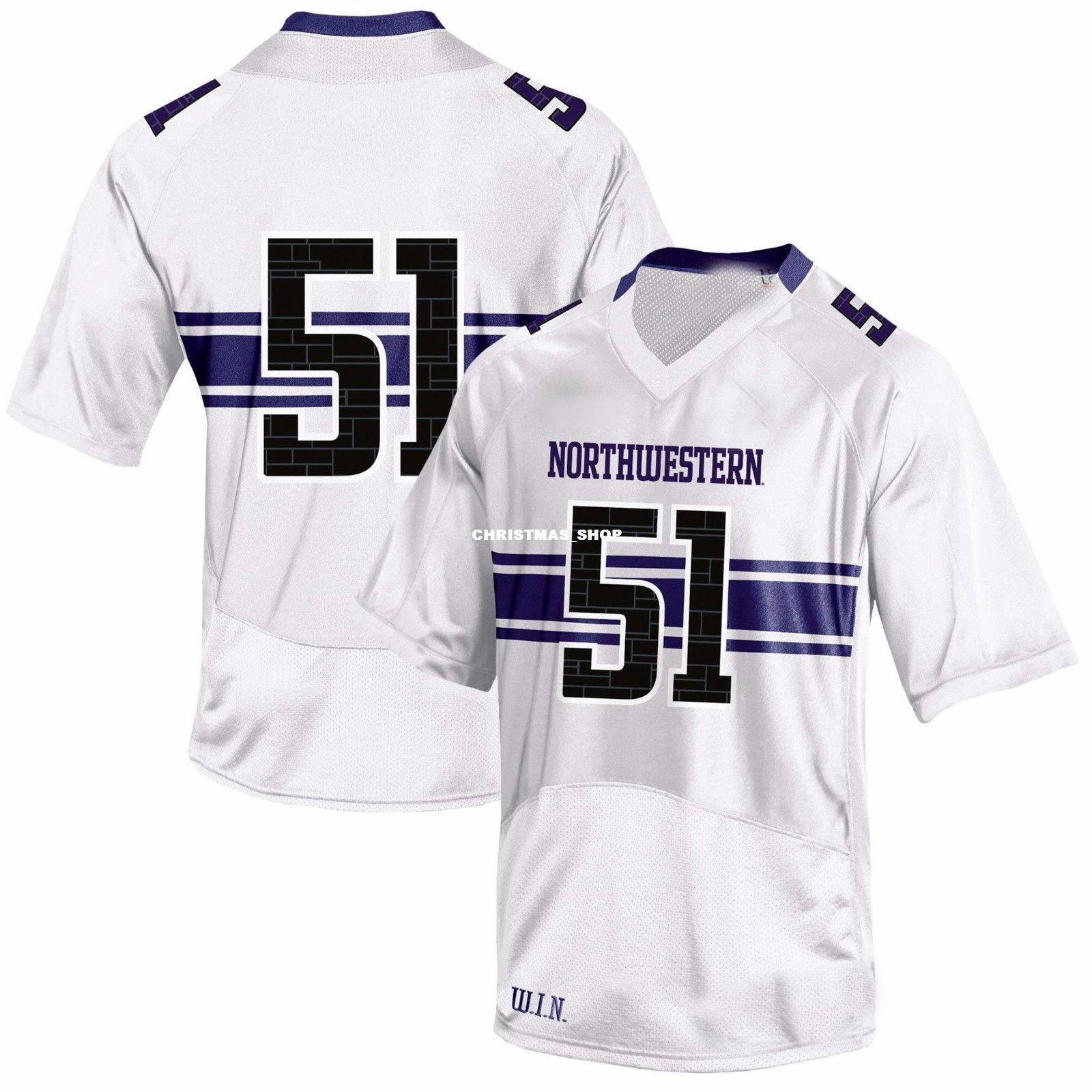 quality design ab502 efbcf Cheap custom #51 Northwestern Wildcats White Football Jersey College  Customized Any name number Stitched Jersey XS-5XL