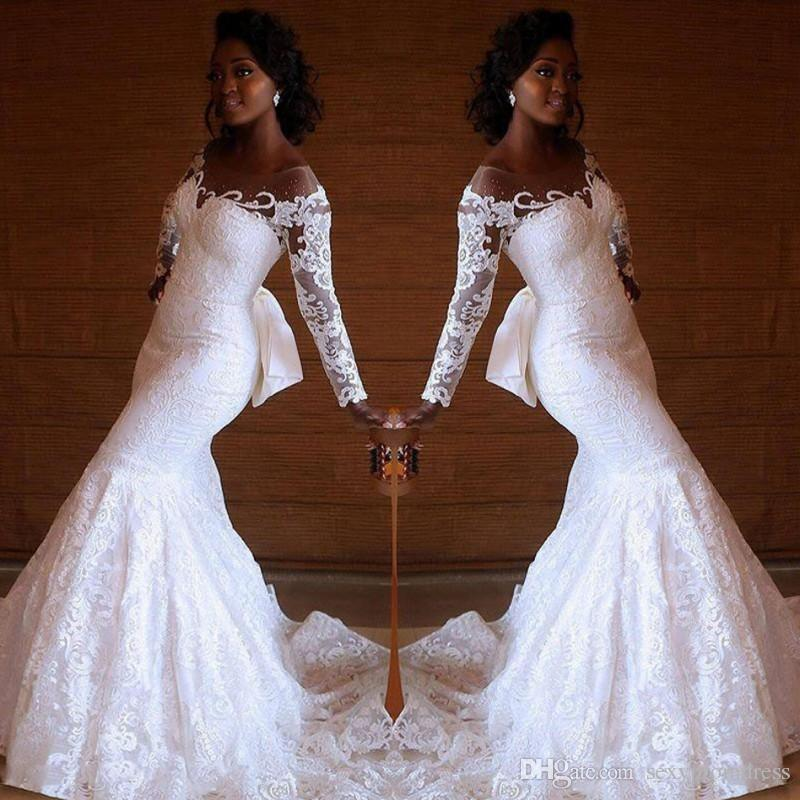 Wedding Gowns Sa: Retro Lace Mermaid Wedding Dresses 2019 South African