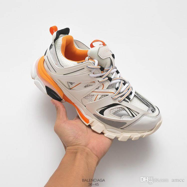 meet a3f5f 98f61 Top Quality Triple S 3.0 track Trainers Men Sports Running Shoes Luxury  Designer Sneaker Black Orange Women Walking Paris Dirty Dad Shoes