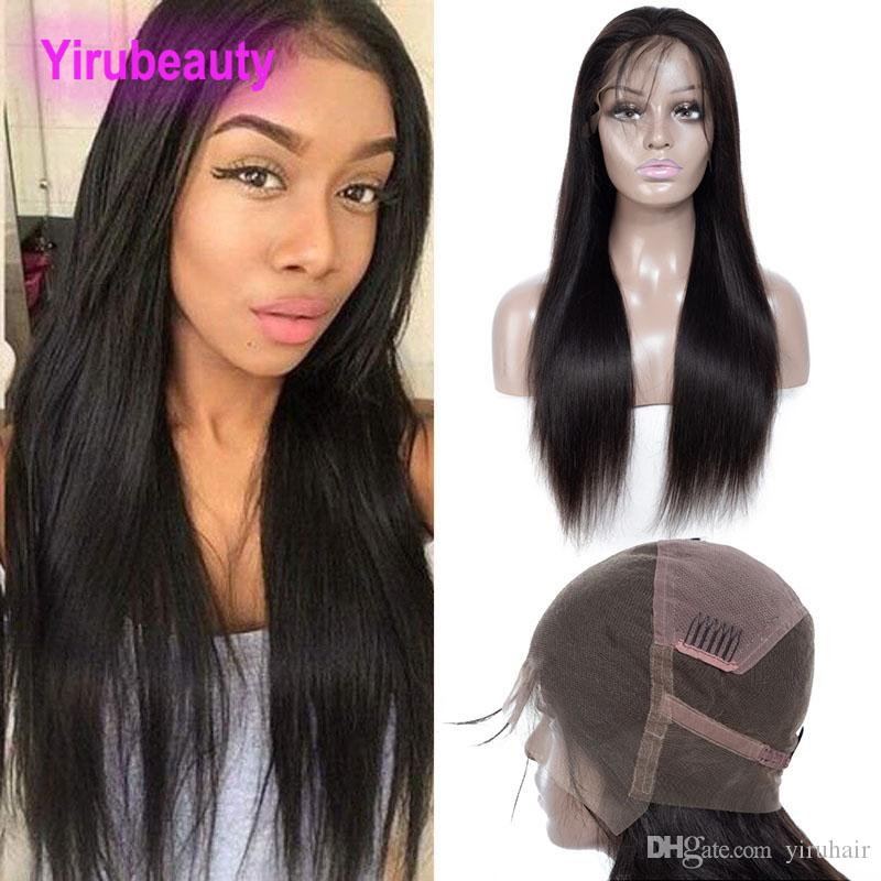 Brazilian Unprocessed Human Hair 9A Full Lace Wigs 210% Density 150% Straight Virgin Hair Lace Wigs With Baby Hair Pre Plucked Natural Color
