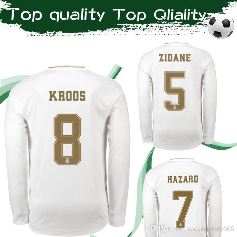best website a60aa 15f74 Long Sleeve Jerseys 2020 Real Madrid Home Soccer Jersey 19/20 #7 HAZARD  Full Sleeve Football Shirt #11 BALE #12 MARCELO Football Jersey