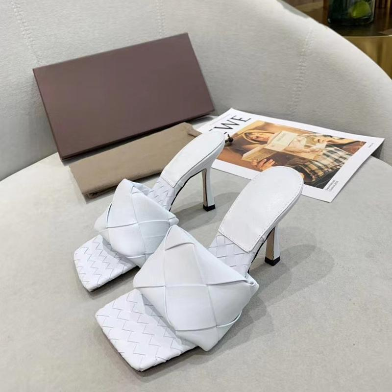 Fashion Women High Heels Lido Sandals Summer Slipper Woven Leather Mules Squared Sole Lido Slides Sandal Sexy Party Sandals Shoes with Box