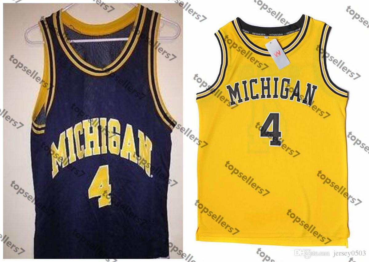 sports shoes 9d098 c2409 Factory Outlet #4 Chris Webber Michigan college Jersey Retro Throwback  Customize any size and player name size xxs-6xl